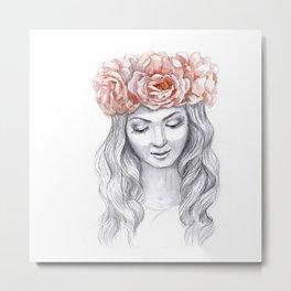 Girl in a pink wreath Metal Print