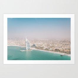 Burj Al Arab and Burj Khalifa from Dubai skies | Travel photography art print photo Art Print