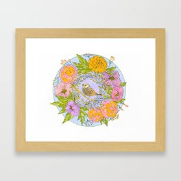 Spring Chickadee in Flowery Woodland Wreath Framed Art Print