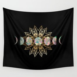Opal Moon and Gold Stars Wall Tapestry