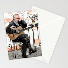 The guitarist, Lisbon, Portugal Stationery Cards