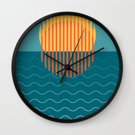 Minimalist Sunset Over Ocean, Travel Print, Sun Set Poster, Large Printable Photography, Wall Art Wall Clock