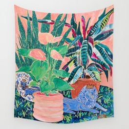 Jungle of House Plants Blush Still Life Painting with Blue Lion Figurine Wall Tapestry