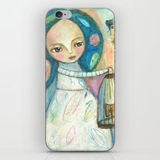 Free to fly - girl and birds iPhone & iPod Skin