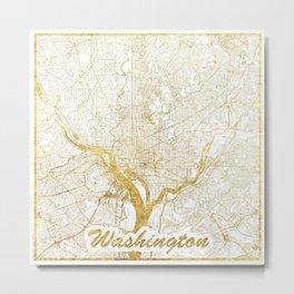 Washington Map Gold Metal Print