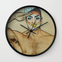 sam smith Wall Clocks featuring Sam by NathanRapportArt