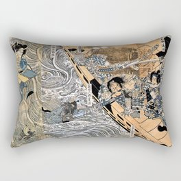 Kuniyoshi Utagawa, The ghost of Taira Tomomori, Daimotsu bay Rectangular Pillow