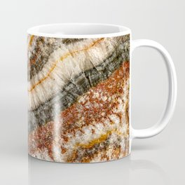 Agate Crystal // Red Gray Black Yellow Orange Marbled Diamond Luxury Gemstone Coffee Mug
