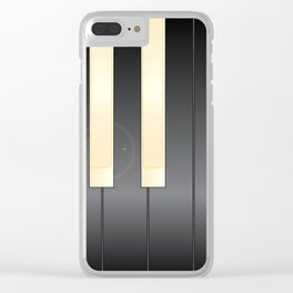 White And Black Piano Keys Clear iPhone Case