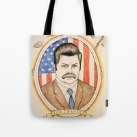 ron swanson Tote Bags featuring Ron Swanson by Ethan Gulley