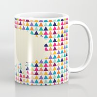 piglet Mugs featuring Geometric Piglet  by ArtisanObscure Prints