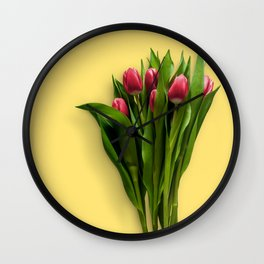 Yellow Bright Light Amber Pink Tulip Blossoms Flatlay Wall Clock