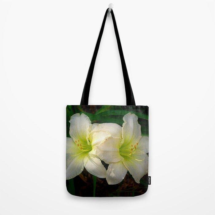 Glowing white daylily flowers - Hemerocallis Indy Seductress Tote Bag