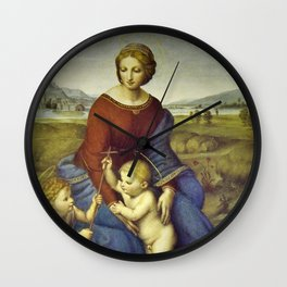 Madonna of the Meadows by Raphael Wall Clock