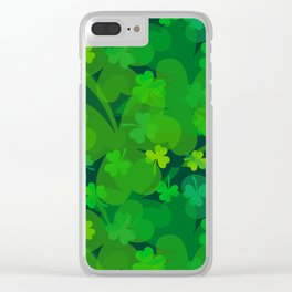 lucky Shamrock - Clovers All Over Clear iPhone Case