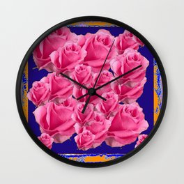 Romantic Rose Pink Color & Rose Garden Pattern Blue Art Wall Clock