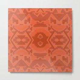 Geometric Aztec in Chile Red Metal Print