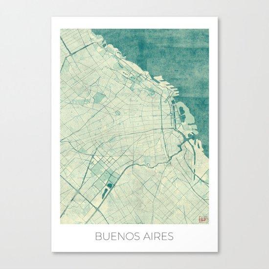 Buenos Aires Map Blue Vintage Canvas Print