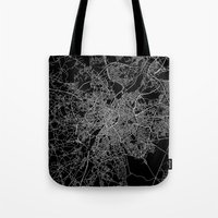 brussels Tote Bags featuring Brussels by Line Line Lines