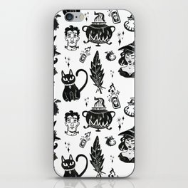 Witches, Cauldron and Cats Pattern iPhone Skin