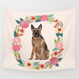 german shepherd dog floral wreath dog gifts pet portraits Wall Tapestry