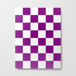 Large Checkered - White and Purple Violet Metal Print