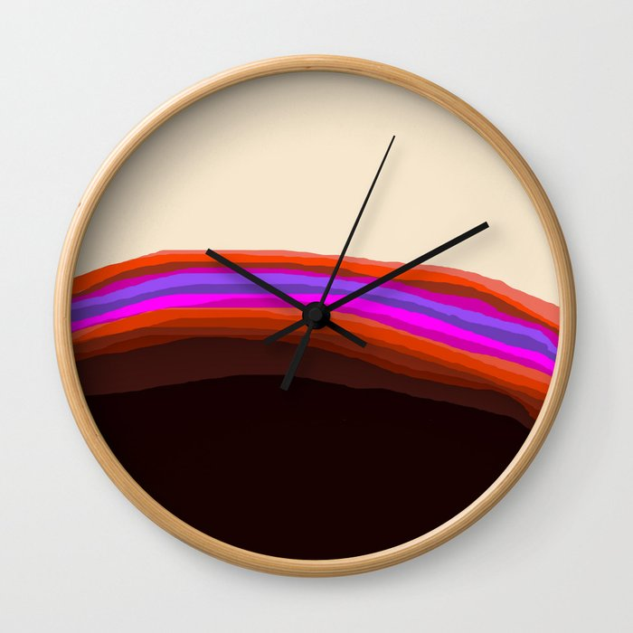 Orange, Purple, and Cream Abstract Wall Clock