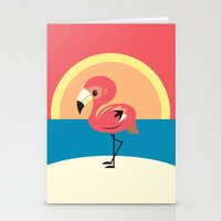 flamingo Stationery Cards featuring Flamingo by Steph Dillon