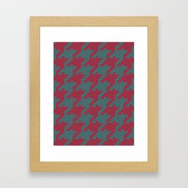 Faux knit retro houndstooth  Framed Art Print