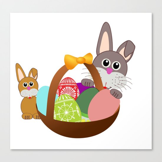 Easter Bunnies and Basket of Eggs Canvas Print