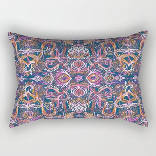 Vivid Celebration - a pattern in magenta, purple and orange Rectangular Pillow