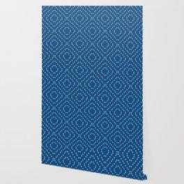 Geometric dots on classic blue Wallpaper
