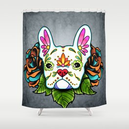 French Bulldog in White - Day of the Dead Sugar Skull Dog Shower Curtain