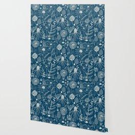 Indigo - Australian - floral - study Wallpaper