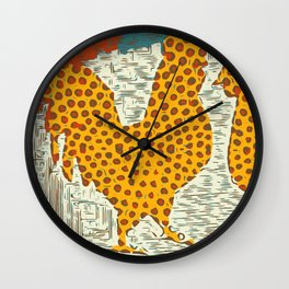 Rooster and chicken Wall Clock