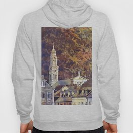 Watercolor painting of steeple of 13th century Church of the Holy Spirit city of Heidelberg, Germany Hoody