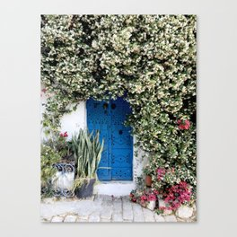 Blue door with pink flowers in Sidi Bou Saïd, Tunisia Canvas Print