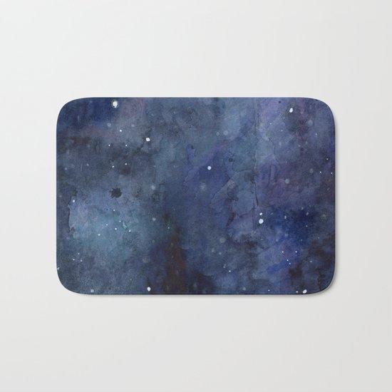 Galaxy Nebula Watercolor Night Sky Stars Outer Space Blue Texture Bath Mat