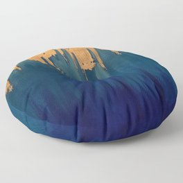 Gold Leaf & Blue Abstract Floor Pillow