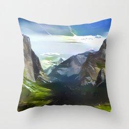 Verdant Yosemite Throw Pillow