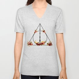 Deathly Hallows in Red and Gold Unisex V-Neck
