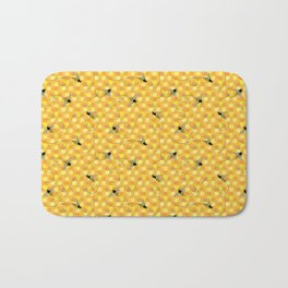 Bees on Honeycomb Pattern Bath Mat