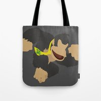 donkey kong Tote Bags featuring Donkey Kong(Smash)Black by ejgomez