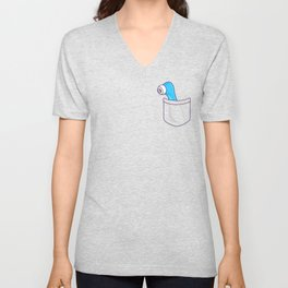 Dildo Pocket Blue Unisex V-Neck