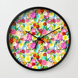 Neon Summer Floral (Smaller Print size) Wall Clock