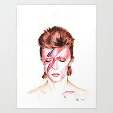 David Bowie. Aladdin Sane. Album Cover. Watercolor painting. Art Print