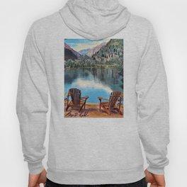 'Sit & Breathe' Adirondack Chair Original Art - Mountain Lake Wall Decor Hoody