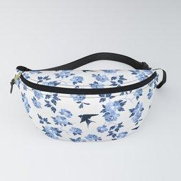 Oriental peonies in sapphire blue Fanny Pack