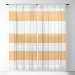VA Bright Marigold - Spring Squash - Pure Joy - Just Ducky Hand Drawn Fat Horizontal Lines on White Sheer Curtain