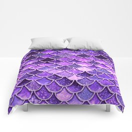 Pantone Ultra Violet Glitter Ombre Mermaid Scales Pattern Comforters